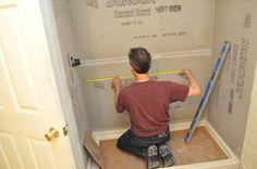 How to Tile a Bathroom, Shower Walls, Floor, Materials pics, Pro-Tips) Tub Shower Combo, Shower Tub, Shower Walls, Bathroom Plumbing, Basement Bathroom, Bathroom Storage, Garage Gym Flooring, Shower Remodel, Remodel Bathroom