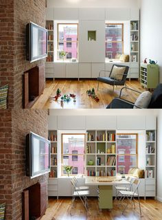 pull down table for small spaces. from apartment therapy