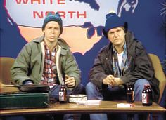 """Bob and Doug McKenzie (Rick Moranis and Dave Thomas) hosting """"Great White North"""" for SCTV Dave Thomas, Rick Moranis, Kids Laughing, The Great White, 80s Kids, Old Tv Shows, Yesterday And Today, Funny People, Funny Things"""