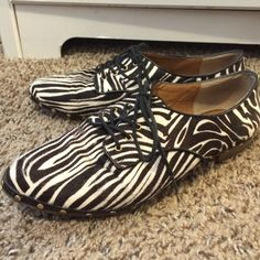 Dolce Vita zebra print Oxford flats size 7.5 These have been worn a few times. The zebra fur is in excellent condition. Gold stud details. Dolce Vita Shoes Flats & Loafers