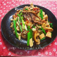 4種のきのこと豚肉のネギ味噌炒め 4kinds of Mushrooms & Pork/ Leek Miso Grill.