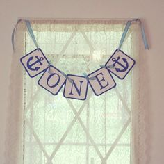 "Nautical, Beach Themed First Birthday ""one"" banner 