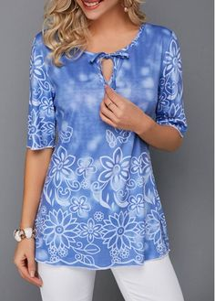 Tops For Women Bowknot Detail Keyhole Neckline Flower Print Blouse Trendy Tops For Women, Blouses For Women, Stylish Tops, Blouse Online, Shirts Online, Tops Online, Moda Casual, Fashion Outfits, Womens Fashion