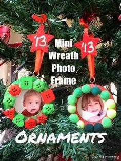 Mini Wreath Photo Frame Ornaments - Teach Me Mommy