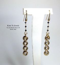 Handmade Donut inspired Gold plated sterling silver earrings with onyx natural stones by Kimi Te Jewels Sterling Silver Earrings, Natural Stones, Drop Earrings, Jewels, Inspired, Gold, Handmade, Hand Made, Jewerly