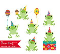 Hoppy Birthday Frogs Clip Art por cocoamint en Etsy