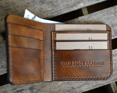 Mens Leather Wallet. Thin Leather BillFold by FatCatLeather