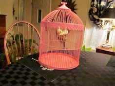 70's Classic Pink Bird Cage by ZeebsThingsAndStuff on Etsy, $45.00