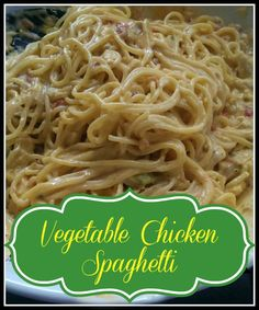 Vegetable Chicken Spaghetti is loaded with cheese but also vegetables to give it a healthy twist.