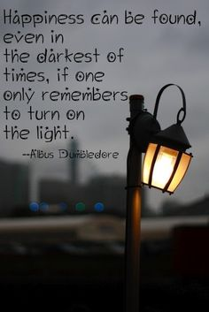 Dumbledore quote  happiness can only be found when one remembers to turn on the light.