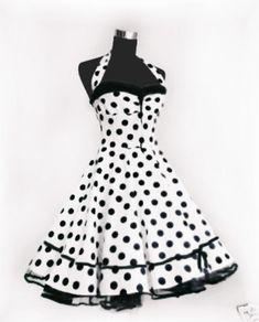 Wunderschön das Kleid im typischen 50er Jahre Polkadot-Dessin. Verarbeitet aus hochwertiger, kühler Baumwolle im schrägen Fadenlauf für einen noch besseren Sitz.  Der Oberbrustbereich ist durch...