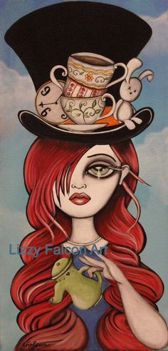 Original Painting -Alice inspired- Big Eye Art by Lizzy Falcon, Lowbrow Art
