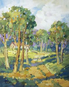 Afternoon Shadows by Joyce Hicks Painting at ArtistRising.com, usually she paints with watercolor but this doesn't look like WC