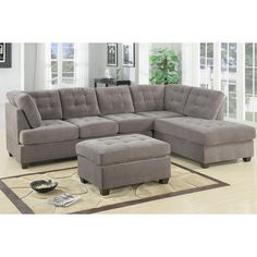 Poundex Charcoal Grey Modern Sectional Couch 3 Pc Living room Set Sofa with Reversible Chaise #F7139