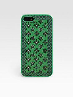 This retro infused green soft case by Tory Burch for iPhone 5 is #summer ready.  #toryburch