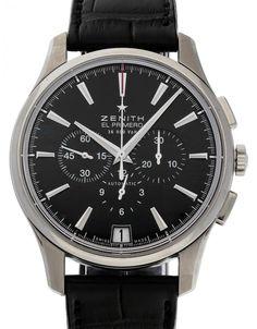 Watchmaster.com - Zenith Captain 03.2110.400/21.c493 Watches For Men, Men's Watches, Watch Companies, Black Bracelets, Luxury Watches, Omega Watch, 21st, Steel