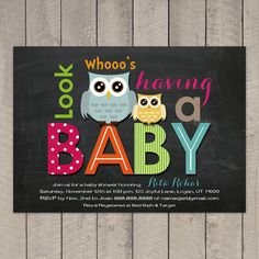 Chalkboard Owls Baby Shower Invitation Digital Printable, ANY color ANY wording on Etsy, $15.00