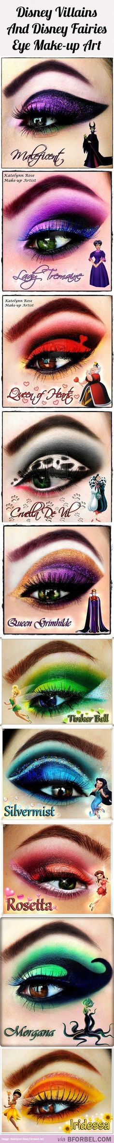 10 Disney Villains And Fairies Inspired Beautiful Eye Makeup...For more beauty, makeup, and nail art tips and ideas, go to www.sparkofallure.com