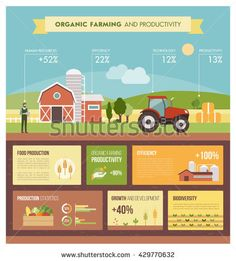 Organic farming and industrial food production infographic with icons and text, country landscape with farm, fields and tractor , Ag Jobs, Farm Facts, Types Of Farming, Future School, Country Landscaping, Agriculture Biologique, School Programs, Organic Farming, Human Resources