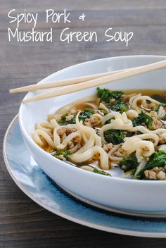 Spicy Pork Mustard Green Soup (with an Asian flair) from Bon Appetit January 2014 Mustard Green Soup Recipe, Chinese Mustard Greens Recipe, Bon Appetit, Cooking Mustard Greens, Asian Recipes, Ethnic Recipes, Asian Foods, Smitten Kitchen, Soup And Salad