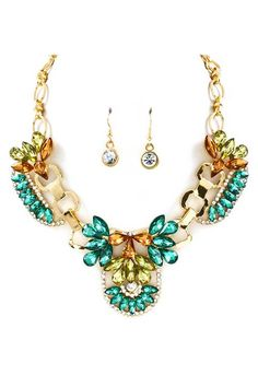 Andrina Statement Necklace in Greens