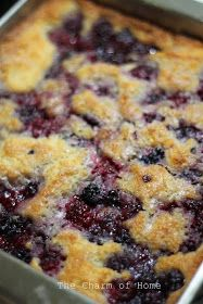 Traditional Blackberry Cobbler.  I added one very small egg. I put half the sugar into the batter and only used 3/4 cup of milk.