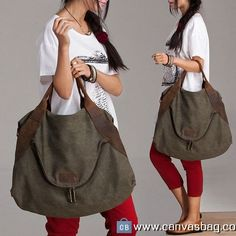Large Capacity Shoulder Bag Leather Canvas Bag