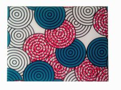 Teal Fuchsia African Print Wall Decor Geometric by DetolaAndGeek