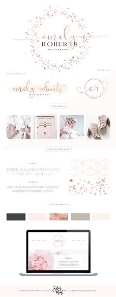 Premade branding kits are a perfect solution to make your blog, website and business sparkle! These logos are a chic and professional way to build your personal or business brand, perfect for entrepreneurs, bloggers, event planners, boutique owners, artists, make-up artists, interior