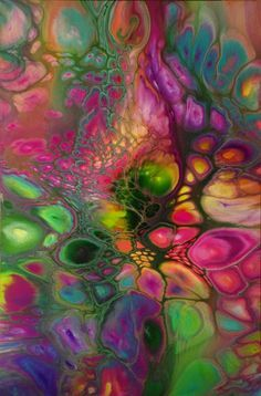 Acrylic Pouring technique, what a beautiful colorful painting!