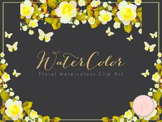 Yellow Watercolor Flower Floral Clip art by MagicalStudio on Etsy