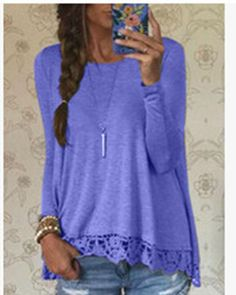 New Fashion 2016 Autumn T Shirt Women Long Sleeve O-Neck Casual Tops Sexy Lace Crochet Top Tees Blusas Plus Size
