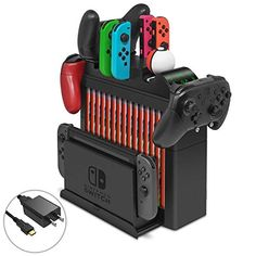 Multi-Function Charging Dock for Nintendo Switch,Organizer and Switch Storage Bracket Tower Holder Stand with Fast Charger Nintendo Switch Accessories, Gaming Accessories, Video Game Rooms, Video Games, Nintendo Room, Video Game Storage, Nintendo Switch System, Gamer Room, Gamer Gifts