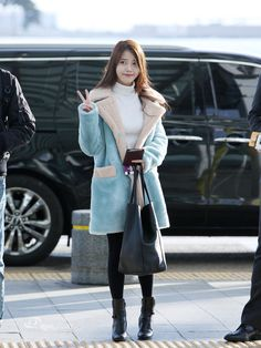 160109 IU @ Incheon Airport Leaving for Taiwan by eyephoto Korean Airport Fashion, Korean Fashion, Kpop Outfits, Casual Outfits, Dress Outfits, Kpop Fashion, Fashion Outfits, Style Fashion, Bts Inspired Outfits