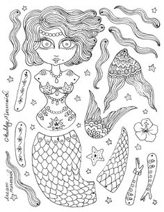 Paper Doll Instant Download Mermaid