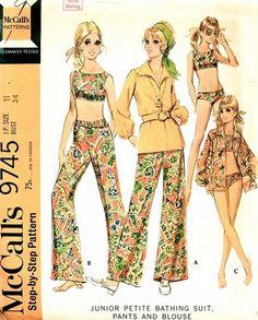McCall's Pattern 9745 Vintage 60's Juniors Bikini Bathing Suit, Bell Bottom Pants, Zippered Front Poet Blouse!