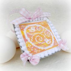 Pastel Easter Egg and Chick Tart Tin Cross by SnowBerryNeedleArts