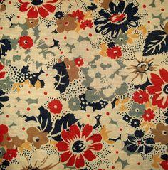 vintage reds.blue floral