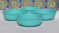 Fiestaware Bowls - Turquoise, Set of Four Fruit Bowls, Art Deco Design, Homer Laughlin Fiesta Ware Dishes Circa 1986 - Excellent Condition!!...