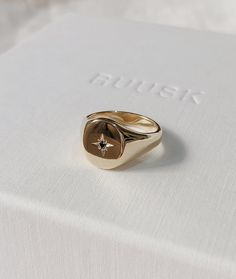 Handmade solid gold womens signet ring featuring a conflict-free star-set Diamond. Made to order in Sydney Australia. Bespoke and Custom rings for the modern woman and bride. Or Rose, Rose Gold, Accesorios Casual, Looks Chic, White Gold, Solid Gold, Gold Rush, Engagement Gifts, Make Jewelry