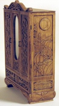 1:12th scale carved wood armoire by Tori West