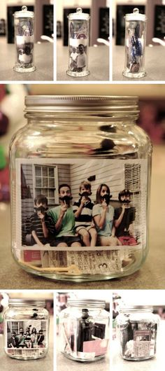 "FUN IDEA I NEED TO DO: ""Memory jar: I love the photos! My husband & I add to ours every year on our anniversary -- mementos from the evening (concert, restaurant, etc.)"""