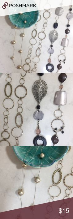 "Long Necklace Bundle 3 Long Necklaces Bundle.  Silver Beads: 44.5"" plus 3"" extender.  Chain Link: 36"".  Multi-Stones: 36.5"".  Each necklace can be worn on there own or they also look really great all layered together. Francesca's Collections Jewelry Necklaces"