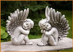 "Cherub Angel Statues, Set of 2 sitting. Polyresin 16"" tall x 13""long x 12""w, US $149.99"
