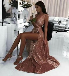 2019 Charming Sexy Sequin Sparkly Simple Rose Gold and Black Split Fashion Popular Prom Dresses, Evening dresses Black Prom Dress 2019 Evening Dresses Sexy Prom Dress Sequin Prom Dress Prom Dress Prom Dresses 2019 Elegant Dresses, Pretty Dresses, Sexy Dresses, Beautiful Dresses, Long Dresses, Unique Formal Dresses, Formal Wear Women, Quince Dresses, Fall Dresses
