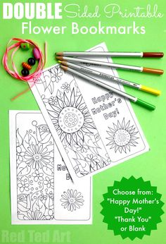 Free Printable Flower Bookmarks for Mother's Day, Teachers or Birthdays. Print, Colour, add a tassle and give these lovely printable Mother's Day Gifts. #mothersday #teachers #printables #bookmarks