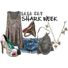 """I love """"Shark Week""""....new inspiraton...my fave is the shoes & shirt"""