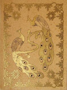 """Peacocks"",golden grafic art, size 24x30cm., by Alexey Volgutskov"