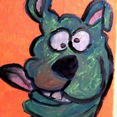 SCOOBY cartoon portrait artist Gregory McLaughlin SOLD