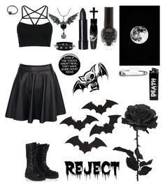 """""""Dead tired rn☠"""" by myxx13 ❤ liked on Polyvore featuring Boohoo, WithChic, ELSE and Manic Panic NYC"""
